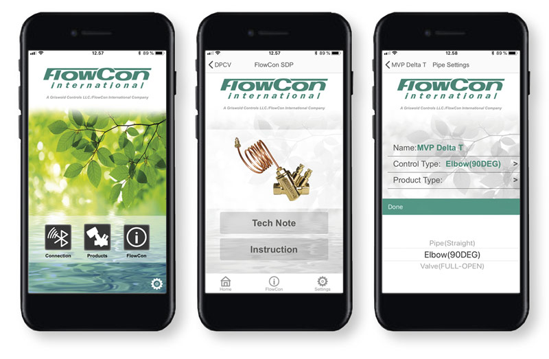 FlowCon App - 3 different views of FlowCon App on iPhone